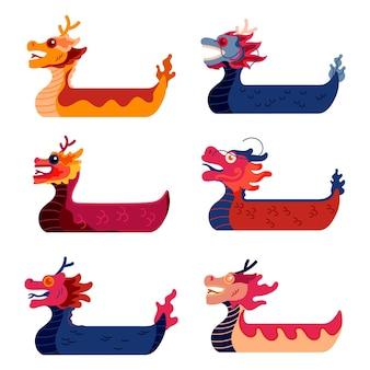 Colección de bote de dragón de diseño dibujado a mano