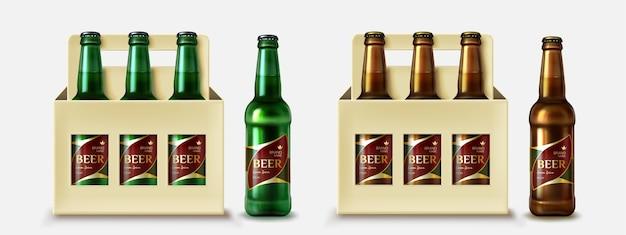 Colección de botellas de cerveza realistas con cajas.