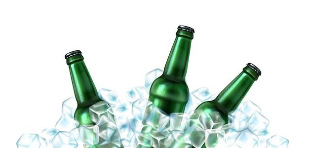 Colección de botellas de cerveza realistas con hielo.