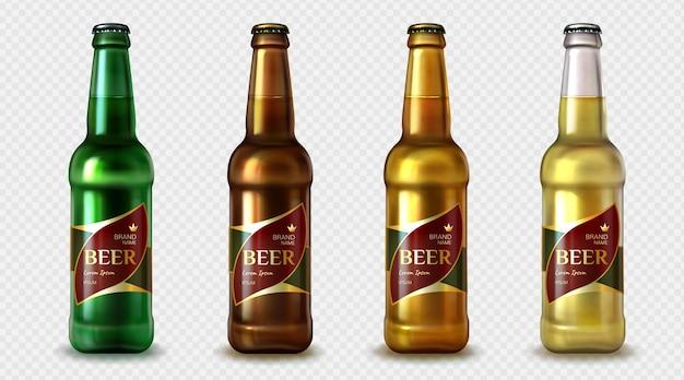 Colección de botellas de cerveza realistas.