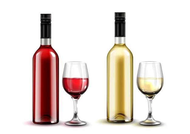 Colección de botellas y copas de vino realistas.