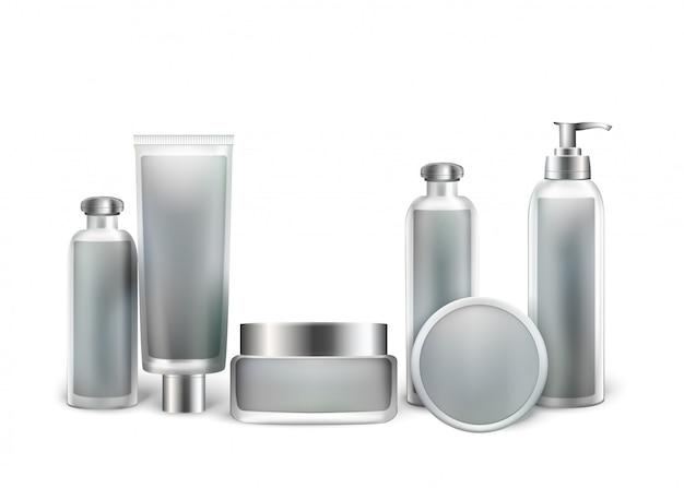 Colección de botellas de cosméticos para productos de belleza.