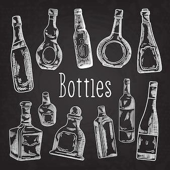 Colección de botellas dibujadas a mano