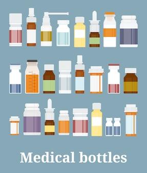 Colección de botellas de medicina. frascos de medicamentos, tabletas, cápsulas y aerosoles. ilustración vectorial