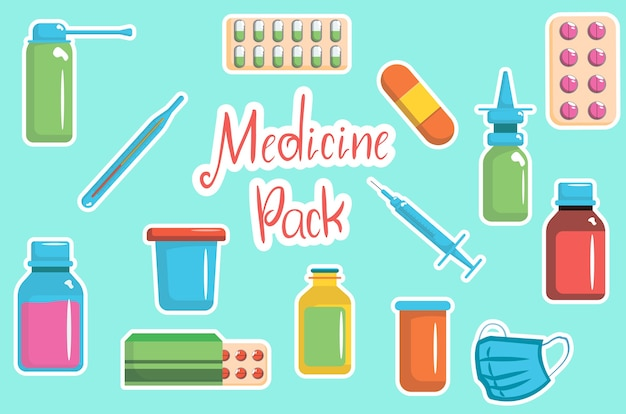 Colección de botellas de medicina. ilustración de medicamentos, tabletas, cápsulas y aerosoles.