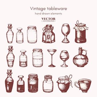 Colección de botellas y tarros.
