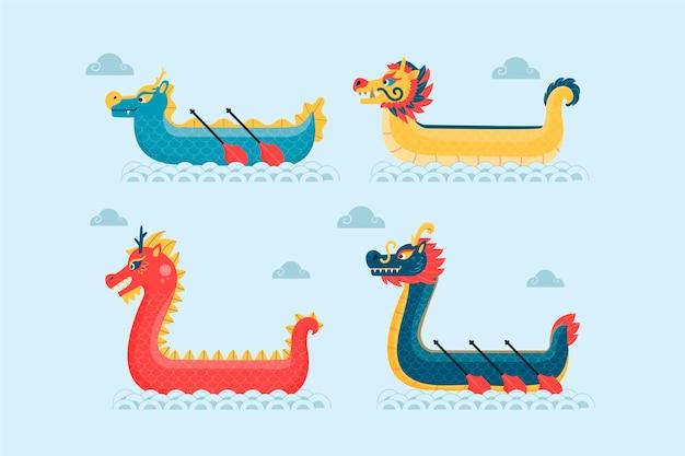 Colección de botes de dragón dibujados a mano sobre agua