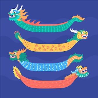 Colección de botes de dragón dibujados a mano