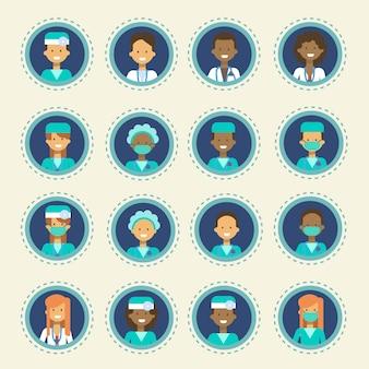 Colección de botones de consulta en línea de conjunto de iconos de clínica de hospital médico trabajador conjunto