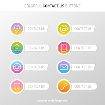 Colección de botones de contacto con degradado
