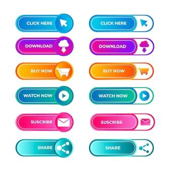 Colección de botones cta de colores degradados