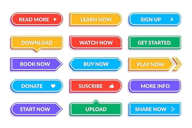 Colección de botones de llamada a la acción de diseño plano