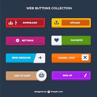 Colección de botones rectangulares de web