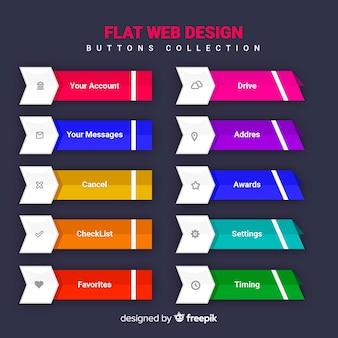 Colección de botones web en diseño flat