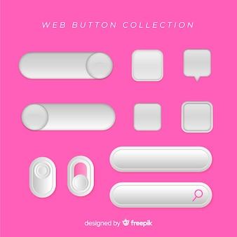 Colección de botones web en estilo flat