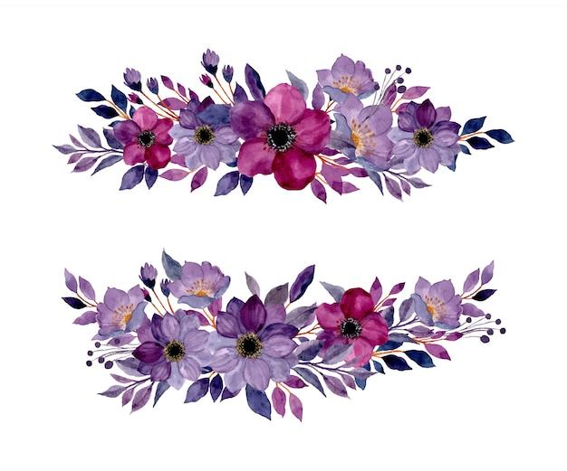 Colección de bouquet floral acuarela púrpura