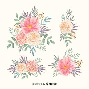 Colección de bouquet floral de flor de acuarela