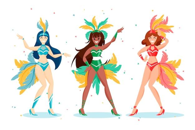 Colección brasileña de bailarines de carnaval