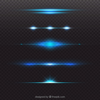 Colección brillosa azul de divisores de bengalas de lente