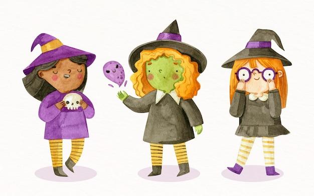 Colección de brujas de halloween en acuarela