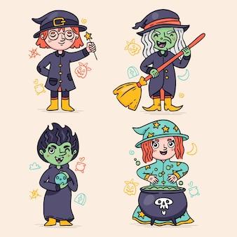 Colección brujas de halloween dibujadas a mano