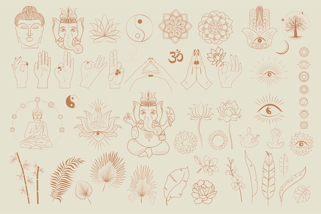 Colección de budismo e hinduismo, objetos de yoga, elementos esotéricos y boho, plantas, buda