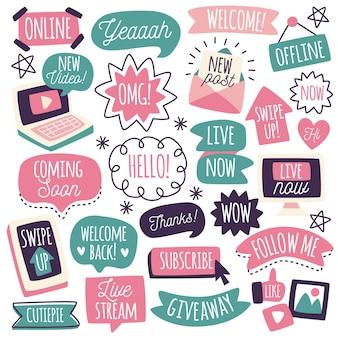 Colección de burbujas de argot de redes sociales