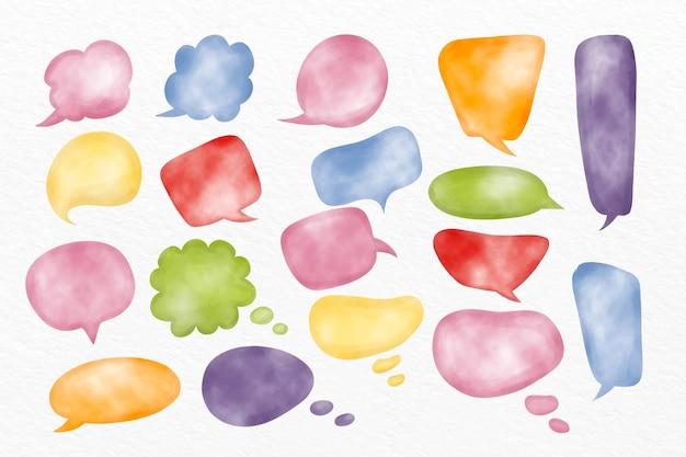 Colección de burbujas de chat en acuarela