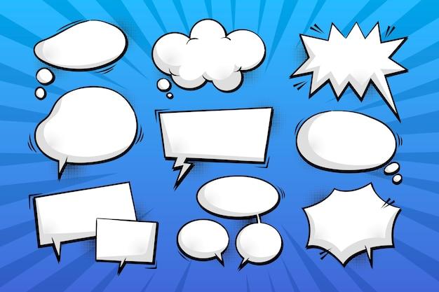 Colección de burbujas de chat cómico