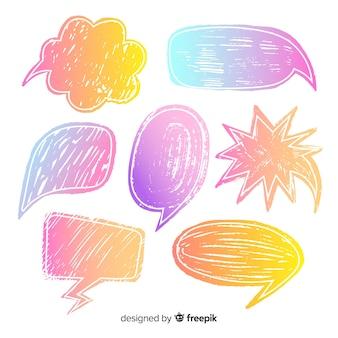 Colección de burbujas de chat dibujadas a mano con lápices de colores