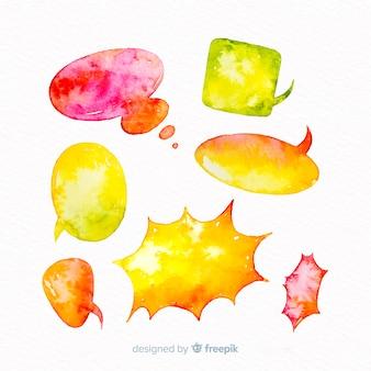 Colección de burbujas de discurso en acuarela en tonos amarillos