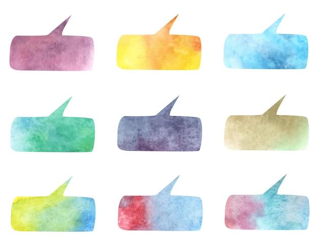 Colección de burbujas de discurso aislado ilustración vectorial. diseño moderno de acuarela. chat de plantilla, mensaje. idea creativa. concepto de comunicación.
