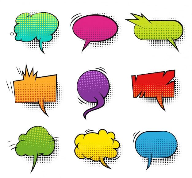 Colección de burbujas de discurso en blanco colorido cómico