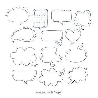 Colección de burbujas de discurso en blanco y negro