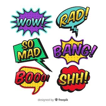 Colección de burbujas de discurso colorido cómico