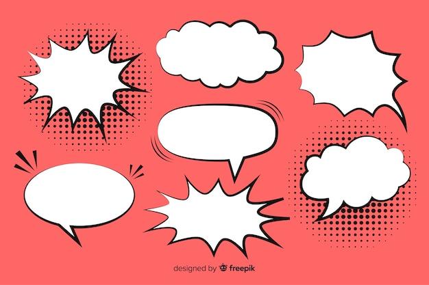 Colección de burbujas de discurso cómico fondo rosa