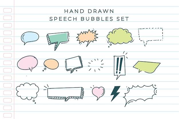 Colección de burbujas de discurso dibujadas a mano
