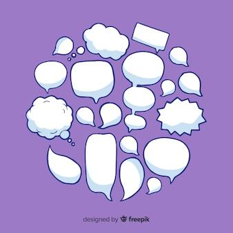Colección de burbujas de discurso dibujado a mano vacía