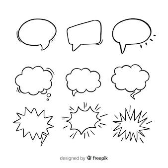Colección de burbujas de discurso dibujado a mano