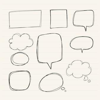 Colección de burbujas de discurso dibujados a mano