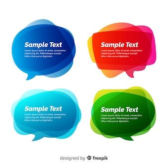Colección de burbujas de discurso gradiente con espacio de copia