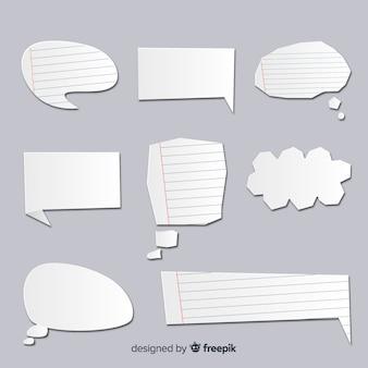 Colección de burbujas de discurso en papel con líneas