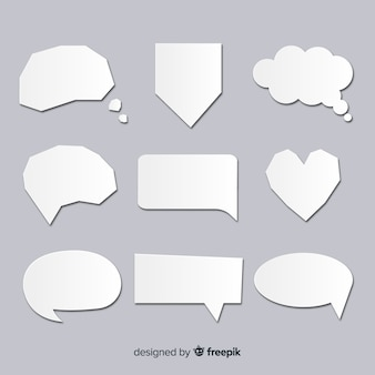 Colección de burbujas de discurso en papel transparente