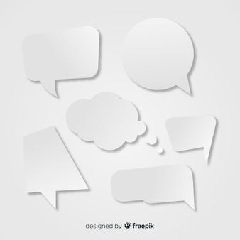 Colección de burbujas de discurso plano en papel