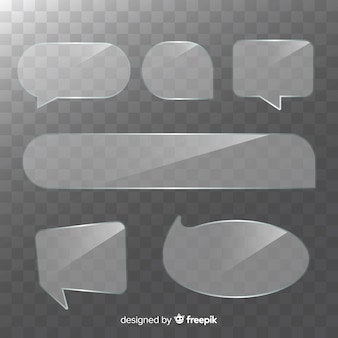 Colección de burbujas de discurso transparente realista