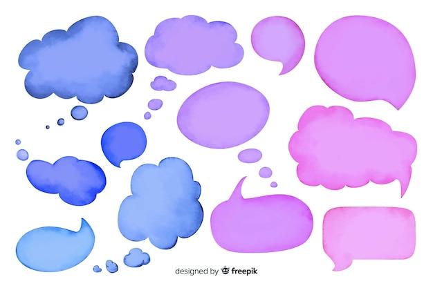 Colección de burbujas de discurso vacío acuarela