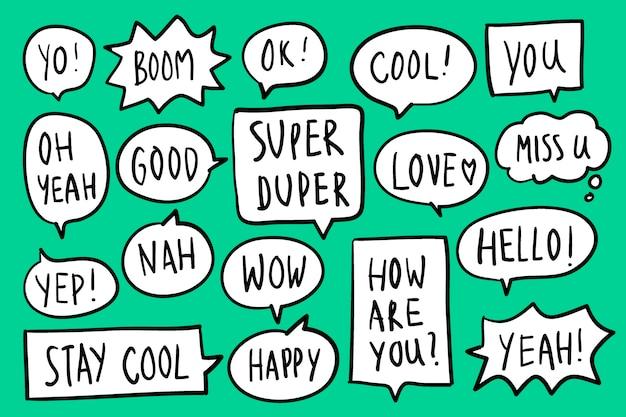 Colección de burbujas de discurso en vector de fondo verde