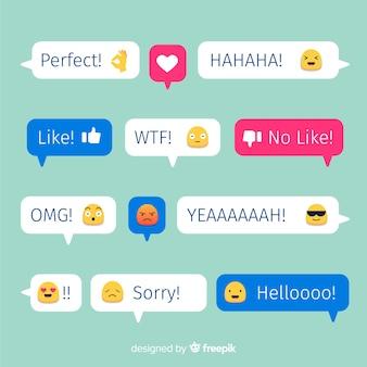 Colección de burbujas de mensajes de diseño plano colorido