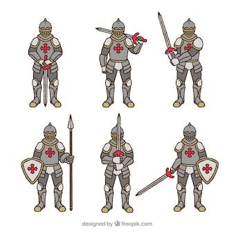 Colección de caballeros de armadura con diferentes posturas