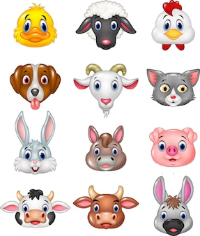 Colección de cabeza de animal feliz de dibujos animados